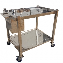 34 Inch Serving Bar Trolley - Serving Stand - Made of Stainless Steel