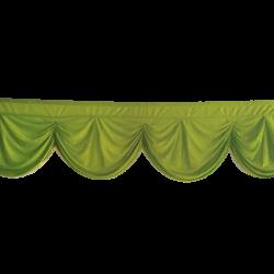 24 FT - Designer Zalar - Scallop Zalar - Kantha - Jhalar - Made Of Lycra With Tipki - Parrot Green Color