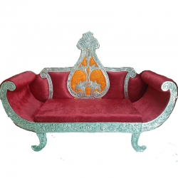 Red Color - Premium Jaipur - Jodhpuri Metals - Heavy - Couches - Sofa - Wedding Sofa - Wedding Couches - Made Of Wooden & Metal