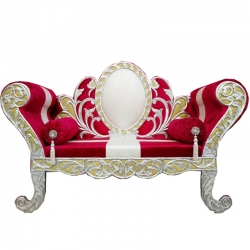 Cherry & White Color - Heavy Premium Metal Jaipur Couches - Sofa - Wedding Sofa - Wedding Couches - Made of High Quality Metal & Wooden