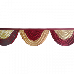 24 FT - Designer Zalar - Scallop Zalar - Kantha - Jhalar - Made Of Lycra With Tipki - Maroon & Chandan Color