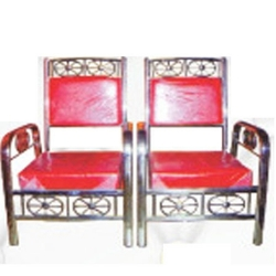 Mandap Chair - 100 % Stainless Steel Chair - One Pair (2 Chairs) - Red Color.