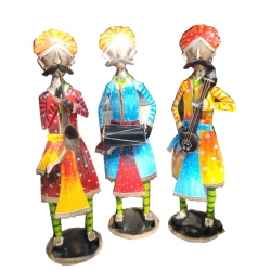 25 INCH - Rajesthani Musician - Decorative Showpiece - Made Of Iron (Set of 3)