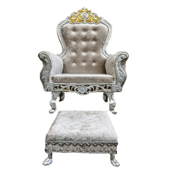 Silver Color - Heavy Premium Metal Jaipur Mandap Chair - Wedding Chair - Varmala Chair - Made Of High Quality Metal & Wooden - 1 Pair & Pooja Chowki