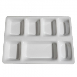 11 Inch X 15 Inch - 7 Compartment  Plate - Made of Food Grade Acrylic - Square Shape - White Color
