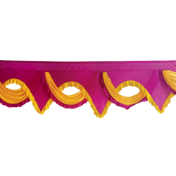 18 FT - Designer Jhalar - Scallop Jhalar - Kantha - Jhalar - Made Of Lycra - Maharani Pink & Yellow Color
