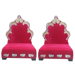 Red Color - Mandap Chair - Wedding Chair - Varmala Chair - Made Of High Quality Wooden & Matel- 1 Pair ( 2 Chair )