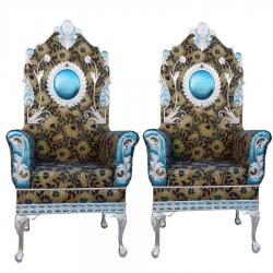Multi Color - Heavy Metal Premium Jaipuri Varmala Chair - Wedding Chair - Chair Set - Made Of Metal & Wooden - 1 Pair ( 2 Chair )