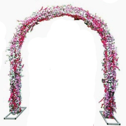 8 FT X 12 FT - Pink Color - Artificial Flower Entry Gate With Stand - For Indoor & Out Door Decoration