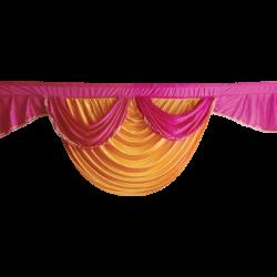 15 FT - Designer Zalar - Scallop Zalar - Kantha - Jhalar - Made of Lycra - Mango Gold & Maharani Pink Colour