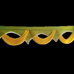 24 FT -Designer Zalar - Scallop Zalar - Kantha - Jhalar - Made Of Lycra With Tipki - Sona Gold & Mehendi Green Colour