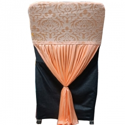 Velvet Flower Chair Cover Bow For Wedding Function - Peach Color
