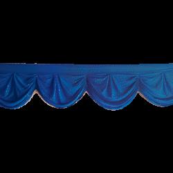 24 FT - Designer Zalar - Scallop Zalar - Kantha - Jhalar - Made Of Lycra With Tipki - Royal Blue Color