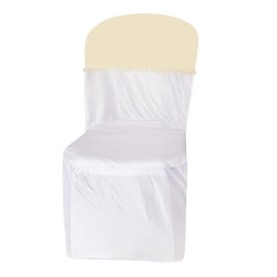 Lycra Cloth Chair Cover with Lycra Cap - Without Handle - For Plastic Chair - Armless - Chandan & White Color