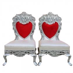 Red & White Color -  Heavy Premium Metal Jaipur Mandap Chair - Wedding Chair - Varmala Chair - Made of High Quality Metal & Wooden - 1 Pair ( 2 Chair )