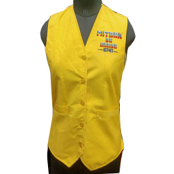 Waiter - Bearer - Bartender Vest - Kitchen Uniform or Apparel - Sleeve-less - Made Of Premium Quality Polyester & Cotton - Yellow Color (Available Size 38 , 40 , 42 )