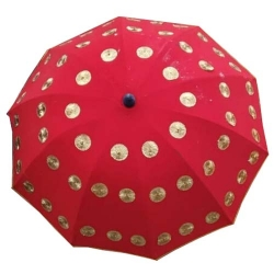 4 FT X 4 FT - Finish Fancy Umbrella - Wedding Umbrella - With Pipe - Red Color