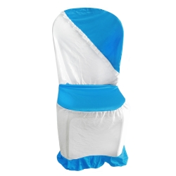 Chandni Cloth Chair Cover - Without Handle - For Plastic Chair - Armless - Firozi + White