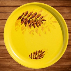 11.50 Inch Second Quality Dinner Plates - Made Of Food-Grade Regular Plastic Material - Round Shape - Printed Plate.
