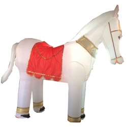 White Color - Horse - Inflatable - Ghoda - Air Blown Inflatable - Made Of PVC Vinyl Comes With A Blower Machine