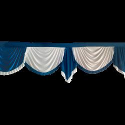 15 FT - Designer Zalar - Scallop Zalar - Kantha - Jhalar - Made of Lycra - Peacock Blue & White Colour