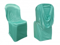 Chandni Cloth Chair Cover Without Handle - For Plastic Chair - Armless - Sea Green with Back Cape