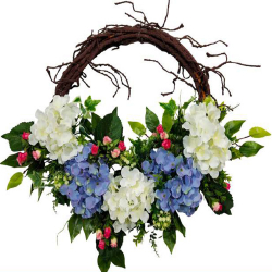 22 Inch  X 22 Inch - Hanging Frame Ring - Artificial Flower With Frame - For Indoor & Out Door Decoration - Multi Color