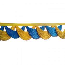 24 FT -  Designer Zalar - Scallop Zalar - Chain Scallop Zalar - Kantha - Jhalar - Made Of Lycra With Tipki - Firozi Blue & Yellow Colour