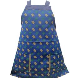Cotton Kitchen Apron - With Front Pocket - Blue Color