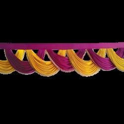 15 FT - Designer Zalar - Scallop Zalar - Chain Scallop Zalar - Kantha - Jhalar - Made of Lycra - Maharani Pink & Yellow Colour