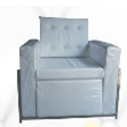 High Quality Single Seater Sofa - Made Of Steel & Fome - White Color.