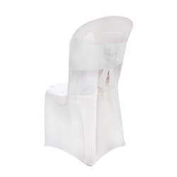 Lycra Cloth Chair Cover with Lycra Bow - Without Handle - For Plastic Chair - Armless - White Color