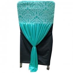 Velvet Flower Chair Cover Bow For Wedding Function - Sky Blue Color