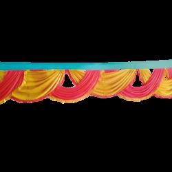 24 FT - Designer Zalar - Scallop Zalar - Chain Scallop Zalar - Kantha - Jhalar - Made Of Lycra - Gajar Red & Sona Gold Colour With Sea Green Patta
