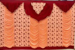 12 Ft X 15 Ft - Designer Curtain - Parda - Stage Parda - Wedding Curtain - Mandap Parda - Background Curtain - Side Curtain - Made Of Bright Lycra - Multi Color - Peach + Maroon - Festoon