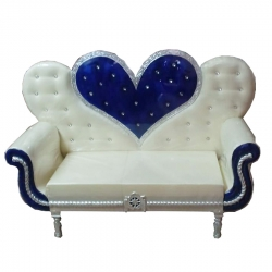 White & Blue Color - Regular - Couches - Sofa - Wedding Sofa - Maharaja Sofa - Wedding Couches - Made Of Wooden & Metal.