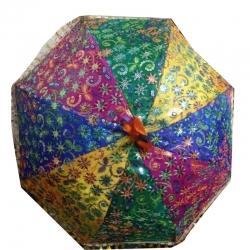 33 Inch - Rajasthani Umbrella Handicraft Stick - Decorative Umbrella - Multi Color