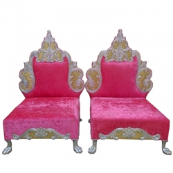 Pink Color - Heavy Premium Metal Jaipur Mandap Chair - Wedding Chair - Varmala Chair - Made of High Quality Metal & Wooden - 1 Pair ( 2 Chair )