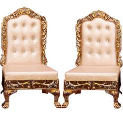 Peach Color - Udaipur - Heavy - Premium - Mandap Chair - Wedding Chair - Varmala Chari Set - Chair Set - Made Of Wooden & Metal - 1 Pair ( 2 Chair )