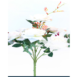 Height 18 Inch - Rose Bunch X 6 - AF - 155 -Artificial Bunch - Leaf Flower - White Color