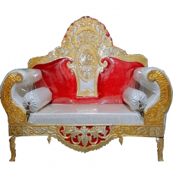 Red & White Color - Regular Couches - Sofa - Wedding Sofa - Maharaja Sofa - Wedding Couches - Made of Wooden & Metal