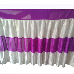 20 FT -Table Cover Frill - Made Of Brite Lycra - 24 Gauge - Purple & White Color