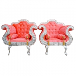 Orange Color - Heavy Metal Premium Jaipuri Chair - Wedding Chair - Chair Set - Made Of Metal & Wooden - 1 Pair ( 2 Chair )