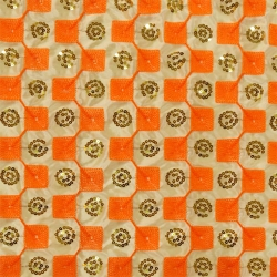 26 Gauge - Designer Bright Lycra - Embroidery Work - 52 Inch Panna - Threadwork & Sequence Work - Chandan & Orange Color