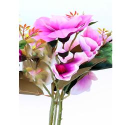 Height  19 Inch - Magnolia Flower Bunch -  AF-254 - Leaf Bunch - Lavender Color