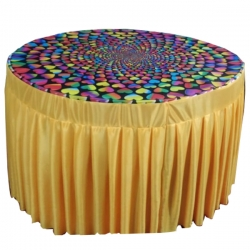 3D Table Cover - Round Table Cover - Top Micro Cloth - Frill Heavy Gauge Brite Lycra - Multi Color