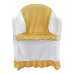 Chandni Lycra Cloth Chair Cover - With Handle - For Plastic Chair - With Arms - Sona Gold & White Color