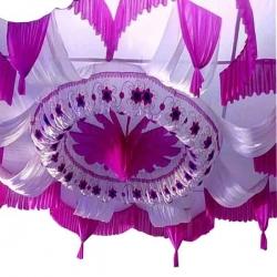 15 FT X 15 FT - Designer Mandap Ceiling - Wedding Top - Base Made Of 16 KG Taiwan - Work 24 Gauge Brite Lycra - Pink & White Color