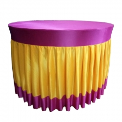 4 FT X 4 FT - Round Table Cover - Made Of Premium Quality Brite Lycra - Pink & Yellow Color