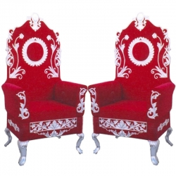 Red Color -  Heavy Metal Premium Jaipuri Chair - Wedding Chair - Chair Set - Made Of Metal & Wooden - 1 Pair ( 2 Chair )